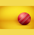 cricket ball on bright orange background vector image vector image