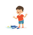 cute bully boy broke the vase hoodlum cheerful vector image