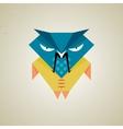 Cute little blue and yellow cartoon samurai owl vector image vector image