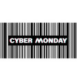 cyber monday in glitch black barcode with text vector image