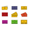 dollar icon set color outline style vector image