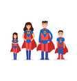 family of superheroes mom son daughter dad vector image