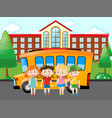 four pupils standing at school vector image vector image