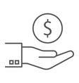 hand holding coin thin line icon finance banking vector image vector image