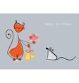 happy birthday red cat congratulates mouse vector image vector image
