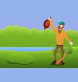 happy hunter shooting duck concept banner cartoon vector image vector image