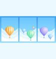 hot air balloon sky flight carnival template set vector image vector image