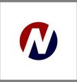 initials n solid circle logo vector image