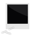 Isolated instant photo with paperclips in flat vector image vector image