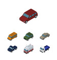 isometric transport set of car auto autobus and vector image vector image