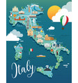 italy map with attractive landmarks vector image vector image