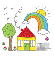Kid s drawing of a house a tree and a rainbow vector image