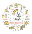 kite surfing entertainment and summer icons vector image vector image