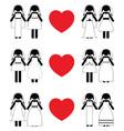 Lesbian brides icon set vector image