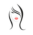 logo woman with long hair vector image