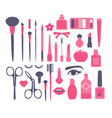 make up and decorative cosmetics flat set brusies vector image