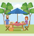 man and woman with fun picnic recreation vector image vector image