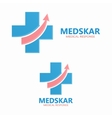 medical logo with up arrow symbol vector image vector image