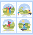 men women and children spend time in nature vector image vector image