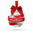 merry christmas earth icon with red bow and vector image