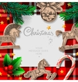 Merry Christmas template with rocking toys and vector image vector image