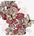 peony flowers in victorian hand drawn style vector image vector image