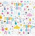 rainy day fun characters cartoon seamless pattern vector image vector image
