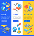 school equipments and tools banner vecrtical set vector image vector image