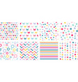 set multicolored cute seamless patterns stars vector image