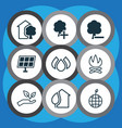 Set of 9 eco icons includes world ecology delete vector image