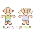 Set of Children Boy and Girl vector image