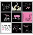 set Valentines cards vector image