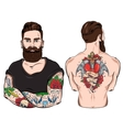 Tattooed Man Character Set vector image vector image