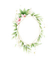 watercolor wreath pink flowers and green vector image vector image