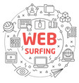 web surfing linear vector image