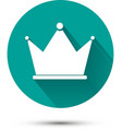 White crown icon on green background with shadow vector image vector image