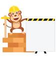 cartoon engineer monkey vector image