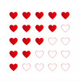 rating with red hearts icon for your infographic vector image