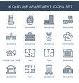 16 apartment icons vector image vector image