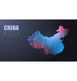 abstract map of china wire frame 3d mesh vector image