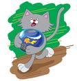 amusing cat and aquarium vector image vector image