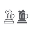 beer mug line and glyph icon drink and glass vector image