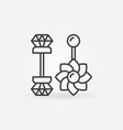 belly button rings icon - piercing jewelry vector image