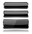 black glass 3d buttons with chrome frame vector image vector image