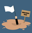 Businessman holds white flag sinking in a vector image vector image