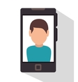character smartphone icon desing vector image vector image