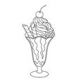 cherry ice cream for coloring book vector image