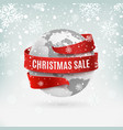 christmas sale earth icon with red ribbon around vector image
