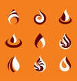 collection of hot orange fire nature elements vector image vector image