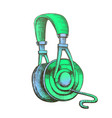 color listening audio device cable headphones ink vector image